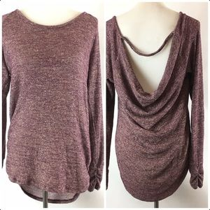 Maurices Draped Open Back Metallic Sweater Size XL